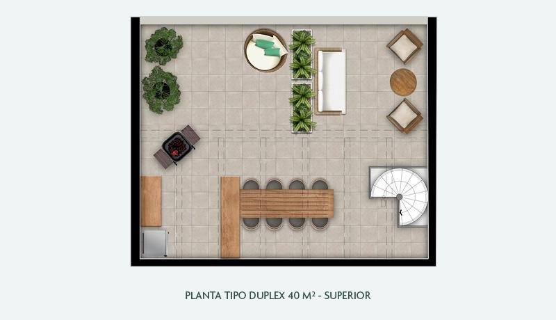 Planta Tipo Duplex 40 m² - Superior