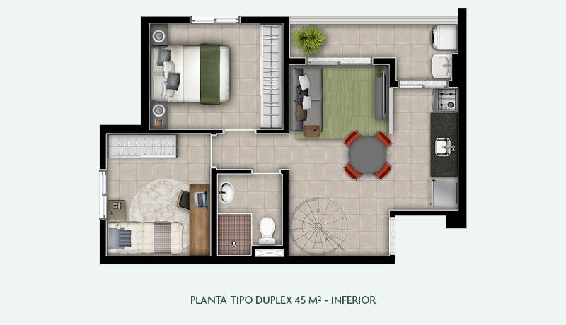 Planta Tipo Duplex 45 m² - Inferior