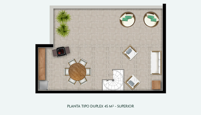 Planta Tipo Duplex 45 m² - Superior