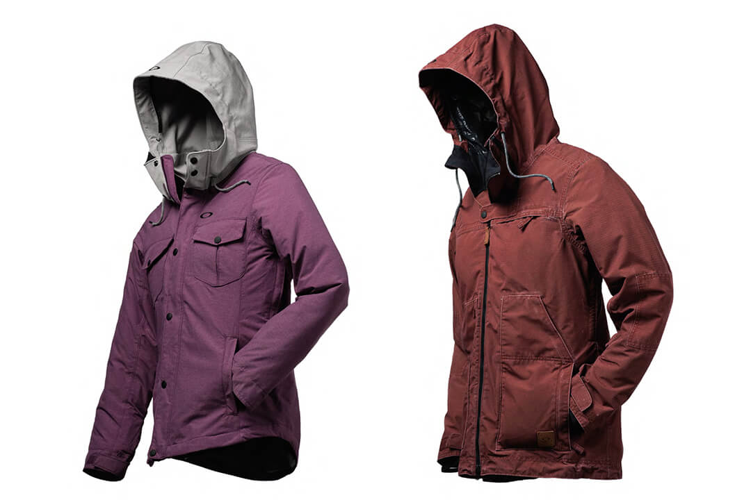 "Two ""hollow body"" product shots of snowboard jackets."