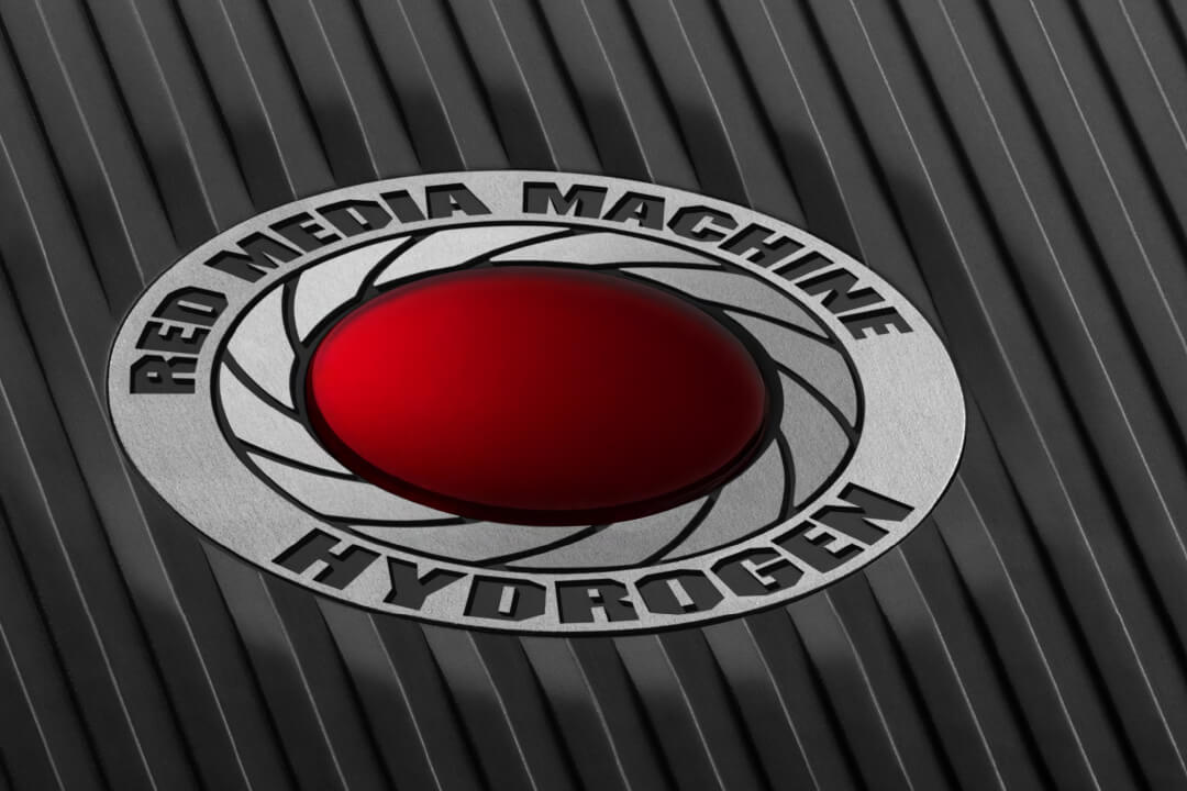 RED HYDROGEN media machine close-up photo of the logo.