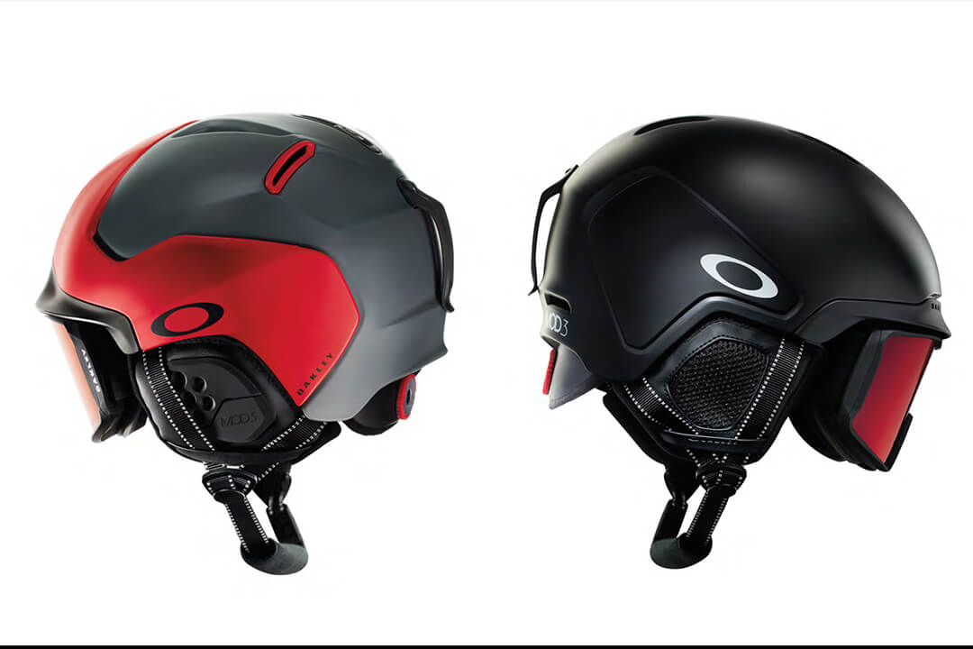 two Oakley Snow helmets photographed out of white.