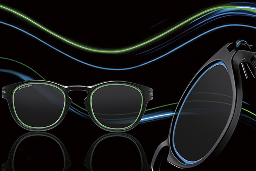 Oakley Sunglasses with streaks of light behind them.
