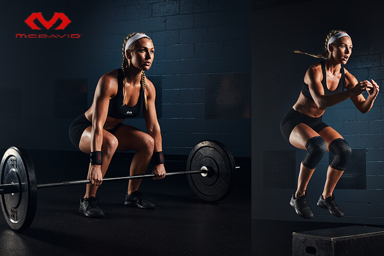 An advertisement for McDavid of a woman lifting a barbell and jumping on a plyometric box.