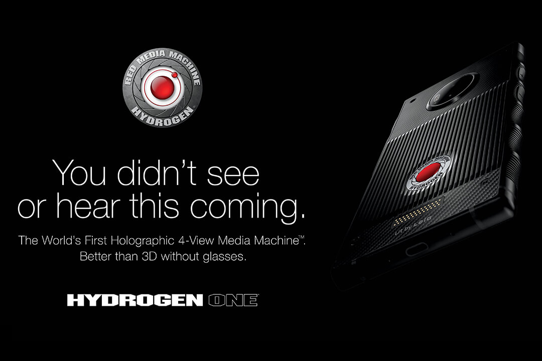 The RED HYDROGEN campaign advertisement of a phone finely lit out of black.