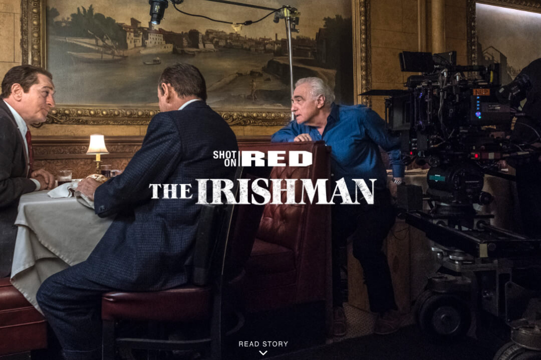 Advertisement of The Irishman movie for RED.com