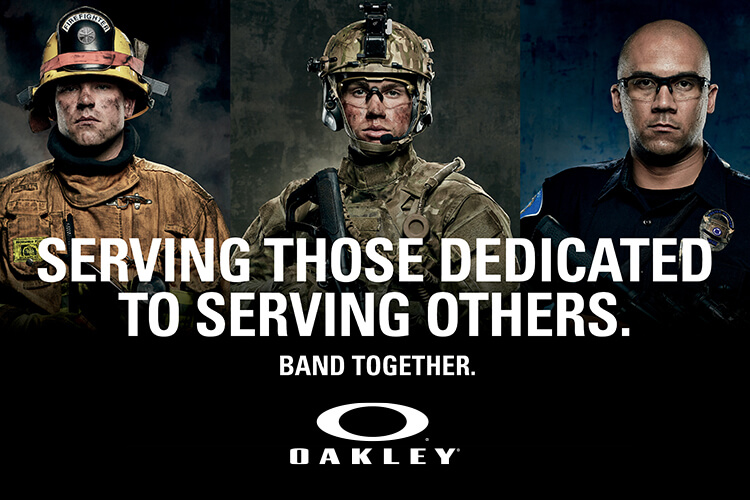 An advertisement for Oakley Standard Issue depicting a Fireman, Soldier and Policeman in post-deployment scenarios.