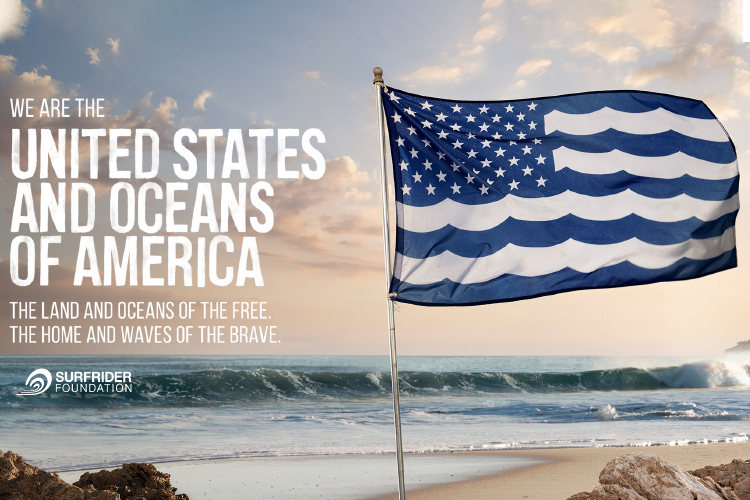 The Surfrider Foundation's advertisement of a flag resembling  the American flag with the Blue stripes made to look like waves. This was to bring awareness to clean water and our ocean's connectivity to our nation.