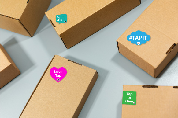 Smart package tags, touchlessunboxing experience campaigns,unboxing moment
