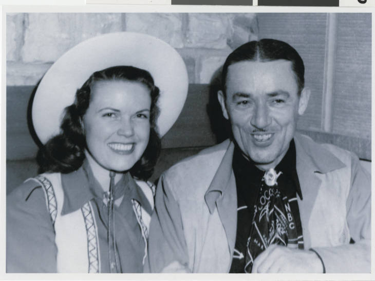 Thomas E Hull and wife Jerry inside the El Rancho Vegas Hotel shortly after it opened (Jan. 1942)