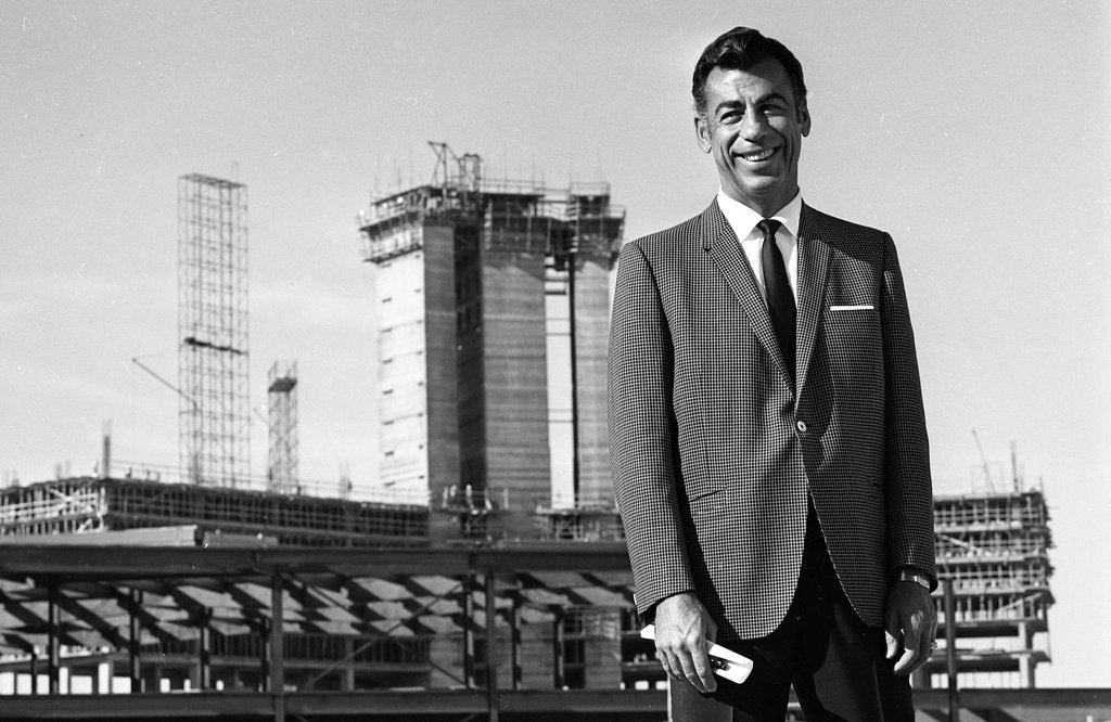 Kirk Kerkorian at the construction site of the International Hotel in Las Vegas in 1968
