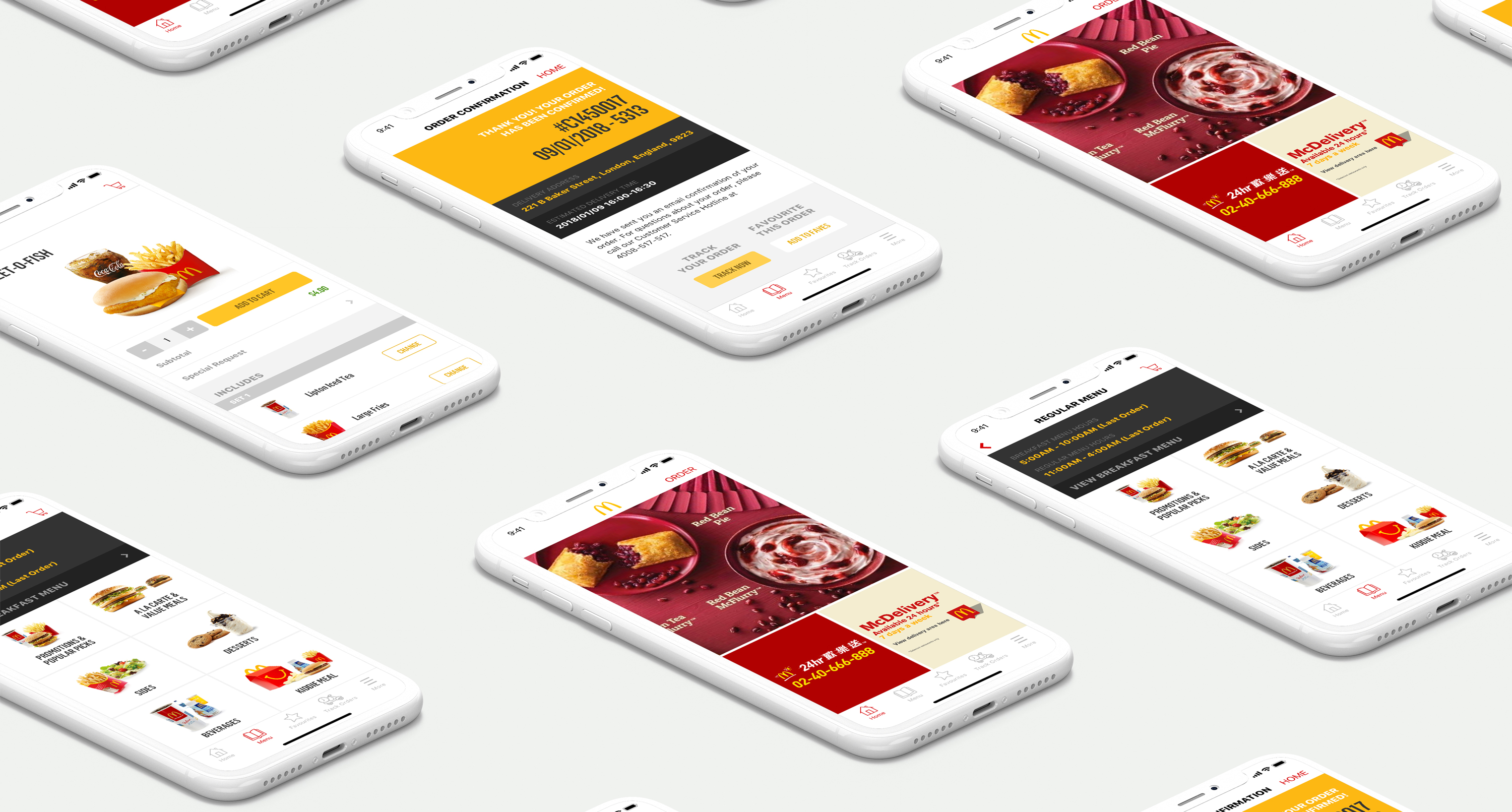 Screenshots of the different screens on the McDonald's Application