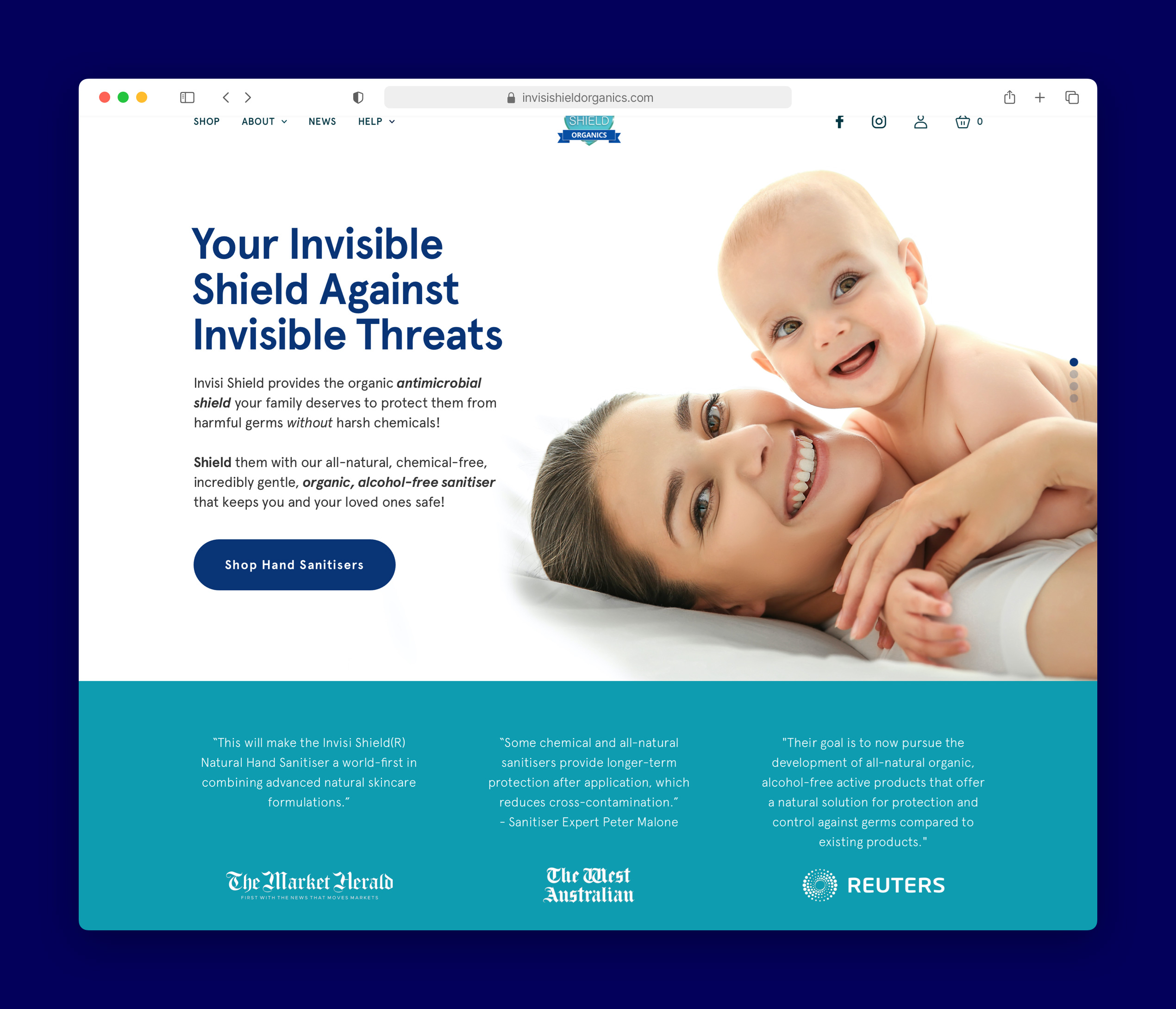 a screenshot of the invisi shield homepage on a browser
