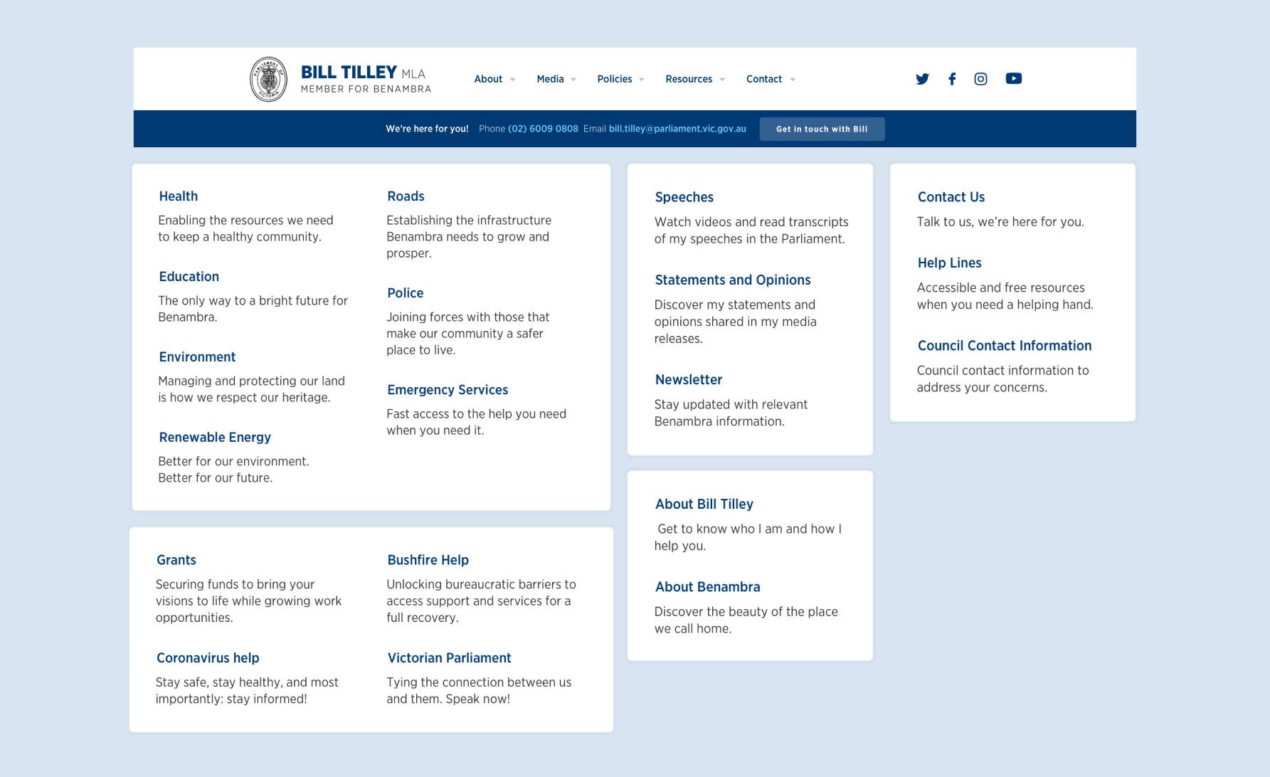Screenshots of the navigation menu on the Bill Tilley Website