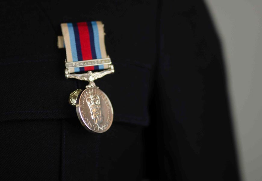 Medal on chest of solider