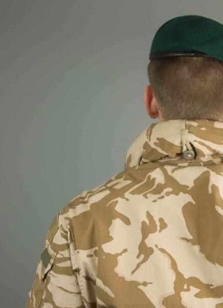 The back of military solider