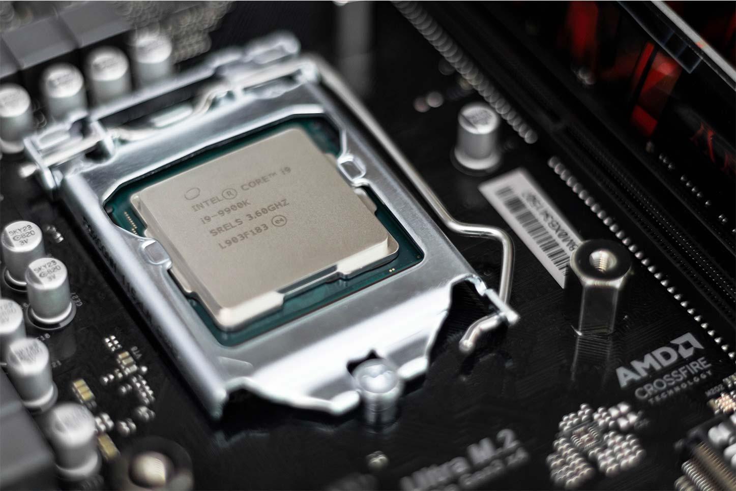 Processor chip inside of computer.