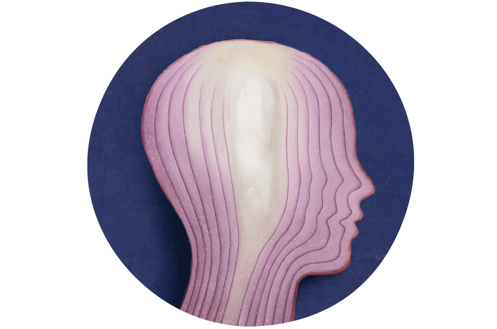 Cross-section of an onion shaped like a face silhouette.