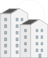 2 multistory buildings with solar