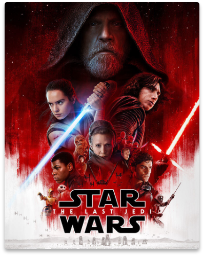 Poster of Disney's movie franchise, Star Wars: The Last Jedi, where our rigging services were provided to.