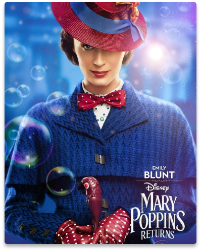 Emily Blunt as Mary Poppins, in the movie Mary Poppins Returns by Walt Disney.