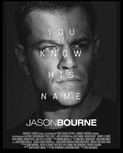 Matt Damon As Jason Bourne in the film poster of Jason Bourne.