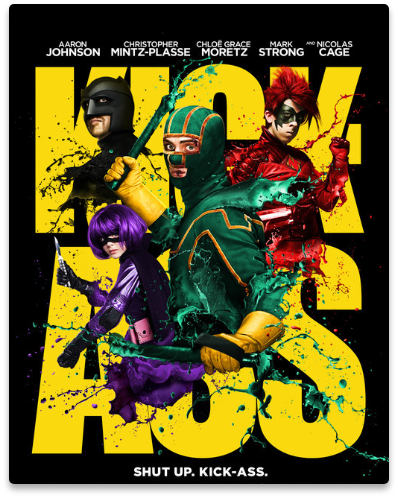 Title poster of the movie Kick-Ass, a film we have collaborated with in its production.