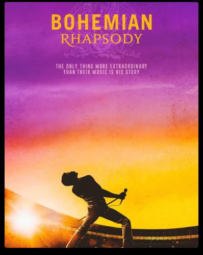 Poster of Freddie Mercury's silhouette in Bohemian Rhapsody.