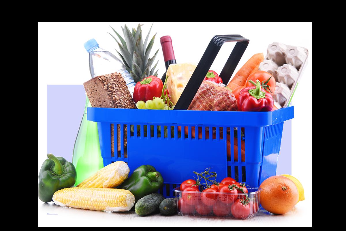 Blue Shopping Basket Shopping Trolley Ingredients In Shopping Basket Supermarket Basket with Ingredients Order Ingredients Online Order Groceries Online Checkout Supermarket Online