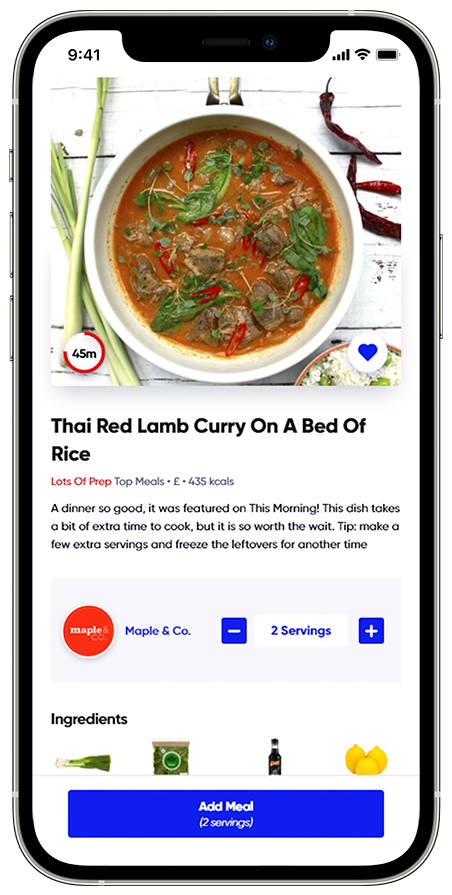IPhone 12 Template Thai Lamb Curry Recipe Maple & Co App Recipe Healthy Recipe Order Groceries Online Food App Cook Healthy Meals Curry Recipe on IPhone IPhone with App Recipe