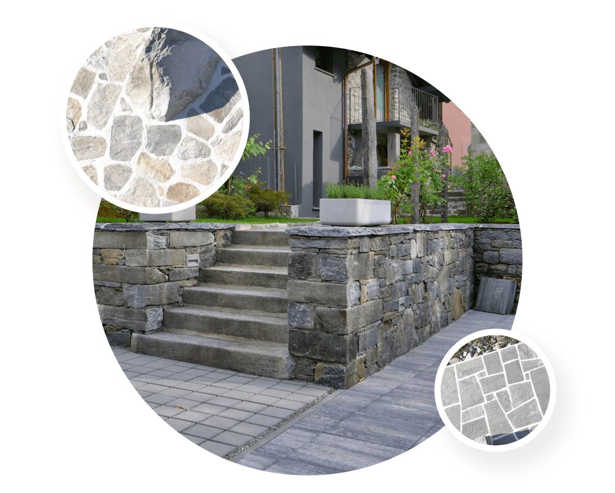 Muri in pietra e pavimentazioni in piode e sagomati a Gordevio, Ticino