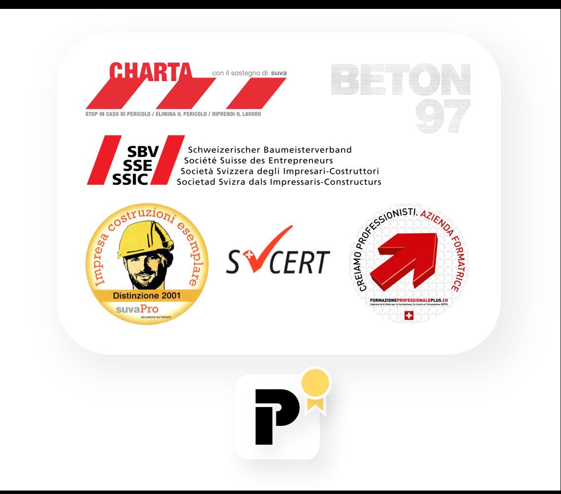 Riconoscimenti Poncetta SA, Charta SUVA, Beton 97, SVCERT, Azienda formatrice, membri SSIC