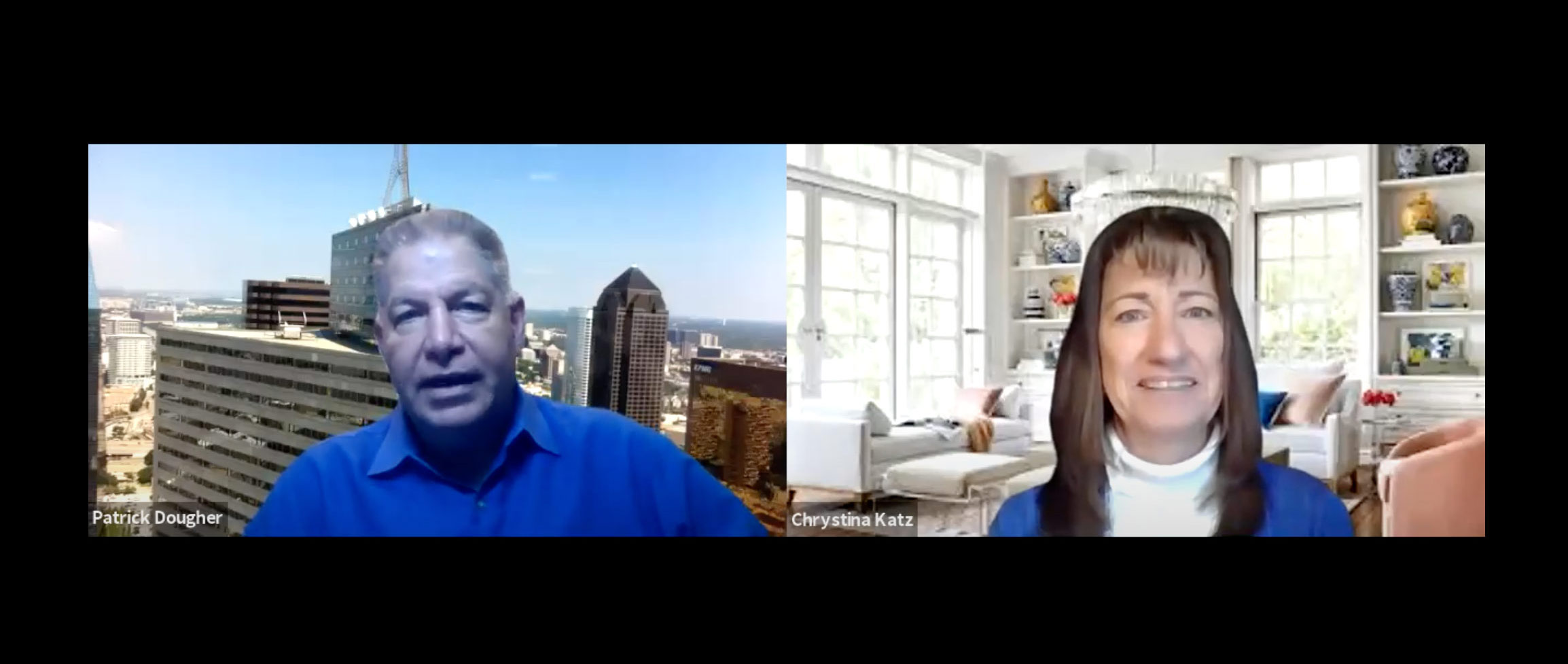 Image of Chrystina and Patrick Dougher on a call. Gutsy Pivoting | Strength Based Marketing Podcast