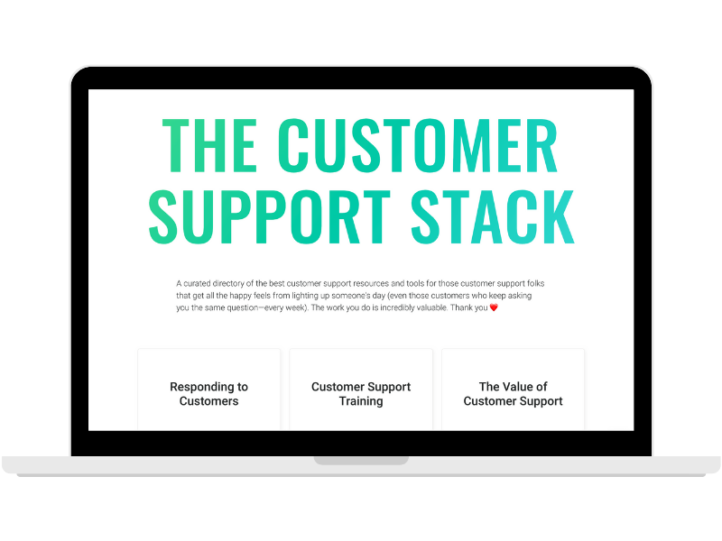 The Customer Support Stack page on a laptop