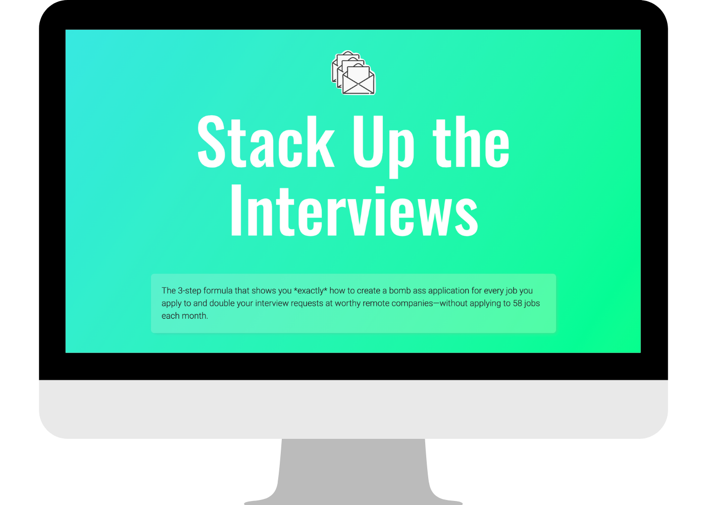 Desktop computer with Stack Up the Interviews on the screen
