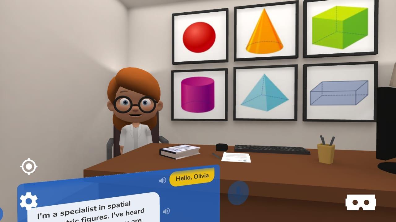 Aula bilíngue de geometria com realidade virtual