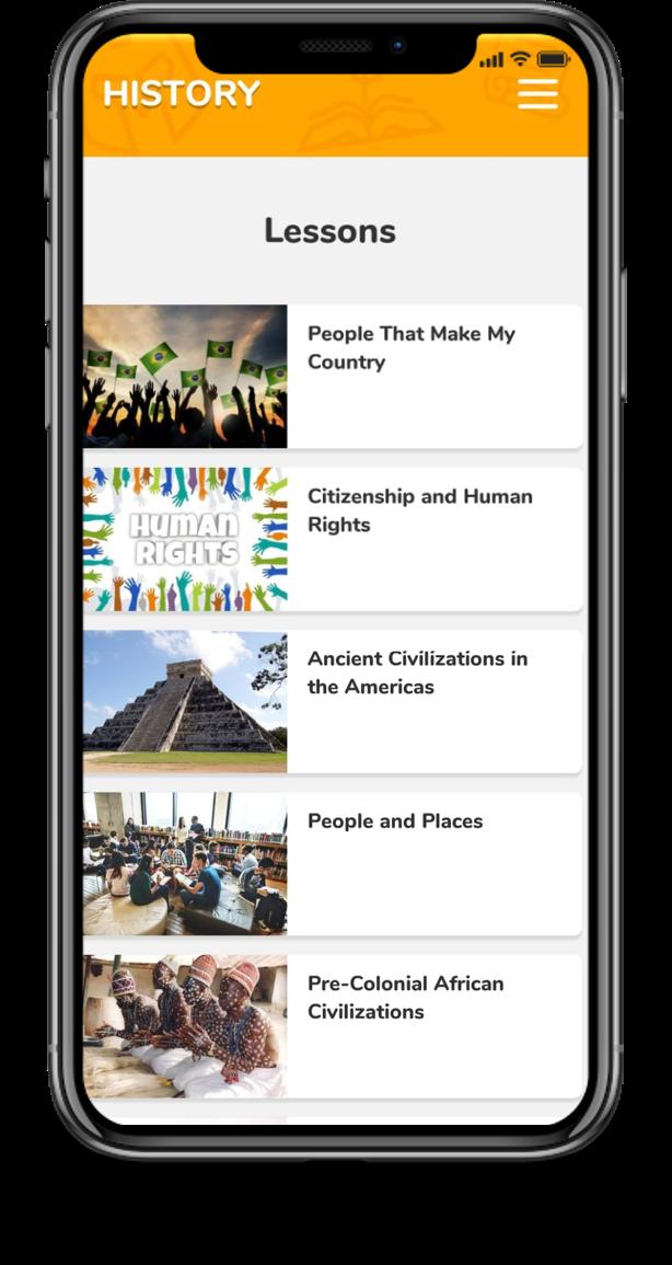 App plataforma bilíngue - aulas de história