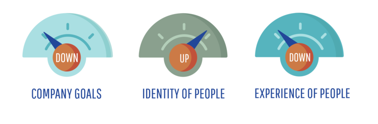 demographic groupe - low company goals, high identity of people, low experience of people