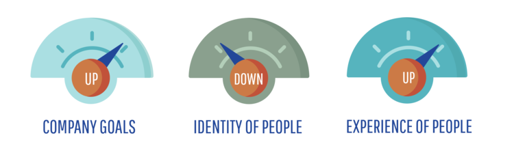 consumer - high company goals, low identity of people, high experience of people