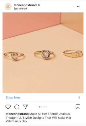 Stoneandstrand instagram post - Rings targeting men on valentine's day
