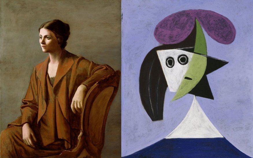 """(Left to Right: """"Portrait of Olga"""" Picasso - 1923, """"Woman in a Hat (Olga)"""" Picasso - 1935)"""