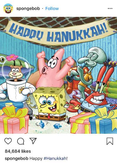 Sponge bob Hanukkah instagram post