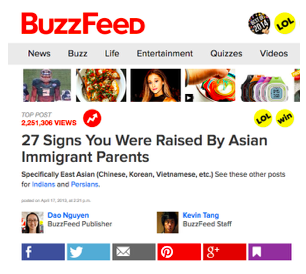 buzzfeed post - 27 signs you were raised by asian immigrant parents