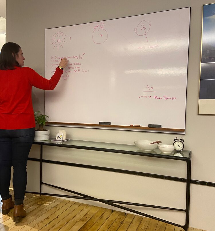 Julie Babb facilitating a weekly retrospective on a whiteboard - A day in the life of Strategist - Emily Fogart