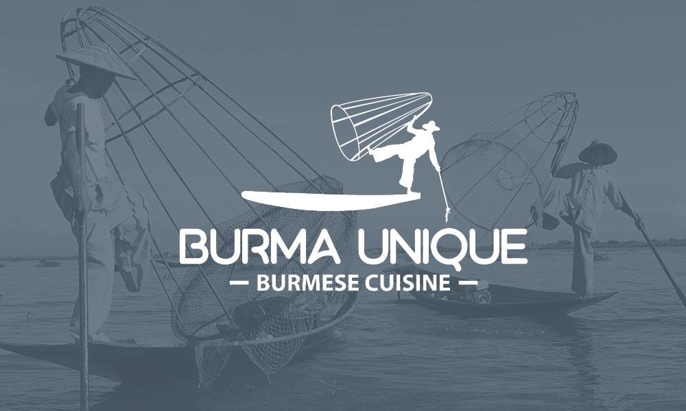 A white logo of a leg-rowing fisherman over an image of leg-rowing fishermen in Burma.