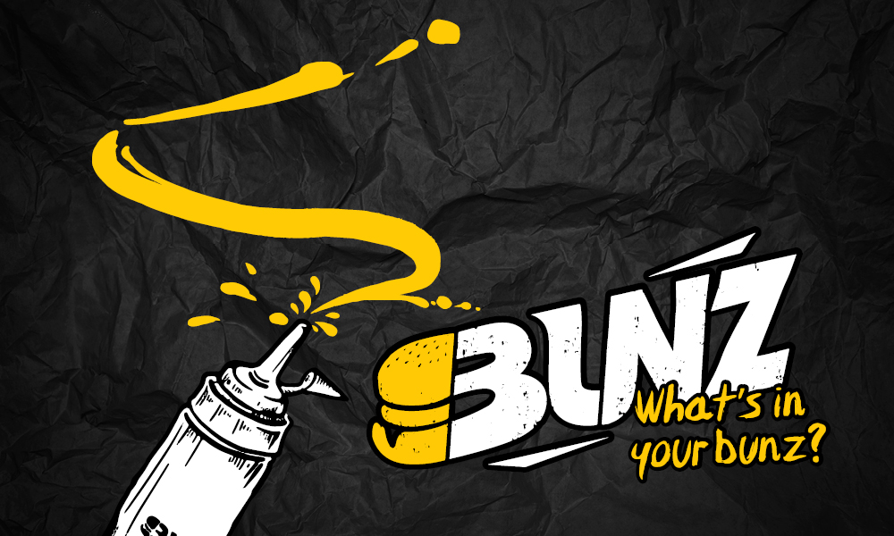 Mustard Bottle Drawing all over the dark background with the BUNZ logo superimposed.