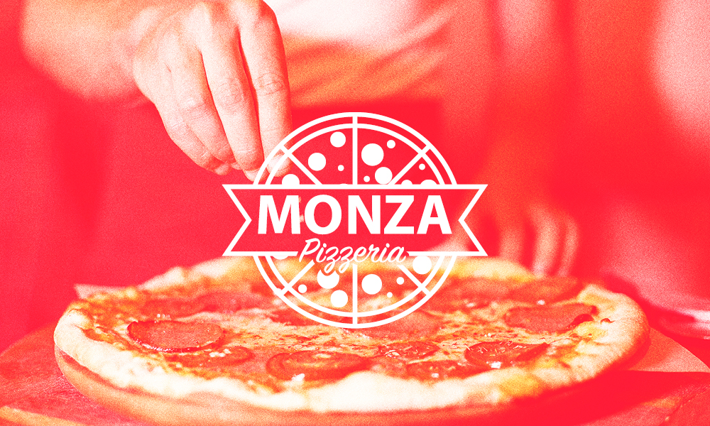 Monza logo superimposed on a red-tinted image of someone sprinkling cheese/toppings on a pizza.