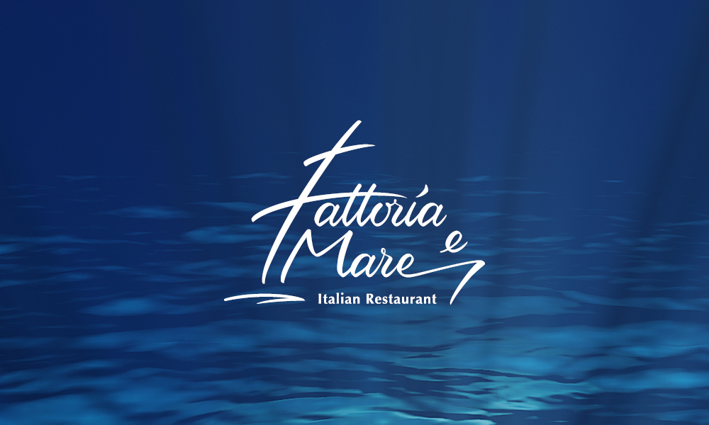 Fattoria e Mare Logo overlaid on an image of the ocean floor.