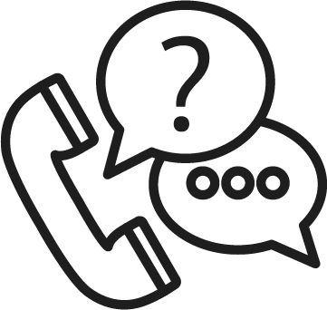 Icon of a phone and chat bubbles.