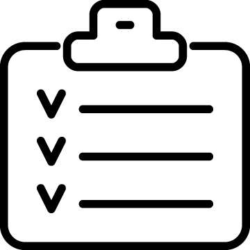 Icon of a clipboard with checkmarks.